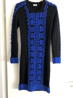 Kenzo Robe en maille tricotées noir-bleu