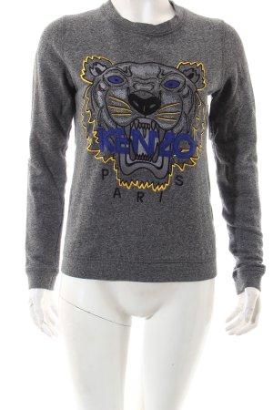 Kenzo Sweatshirt grau Schriftzug gestickt Street-Fashion-Look