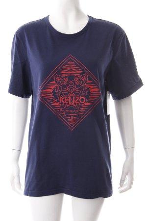 Kenzo T-Shirt dunkelblau-dunkelrot Motivdruck Skater-Look
