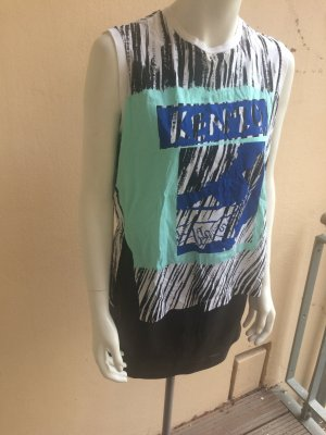 Kenzo Top Gr. S Muster Cut Out schwarz weiß blau NEU Statement Print