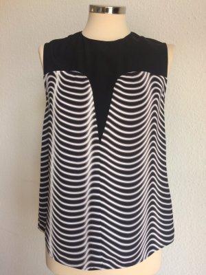 KENZO Top Seide Polyester schwarz weiß Gr.38fr / 36dt! Sehr guter Zustand!