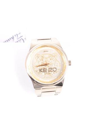 Kenzo Uhr mit Metallband goldfarben-weiß Animalmuster Street-Fashion-Look