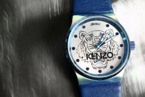 KENZO Uhr Quarzuhr Neu OVP Blau Lederband Analog Zeigeruhr unisex VHB