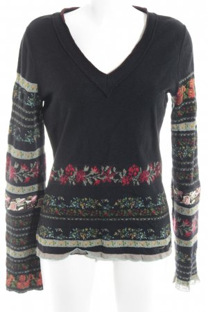 Kenzo V-Ausschnitt-Pullover schwarz Blumenmuster Vintage-Look