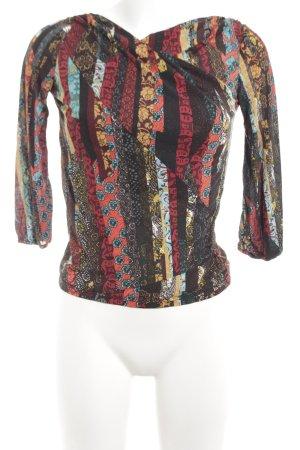 Kenzo Wikkelblouse rood-zwart abstract patroon extravagante stijl