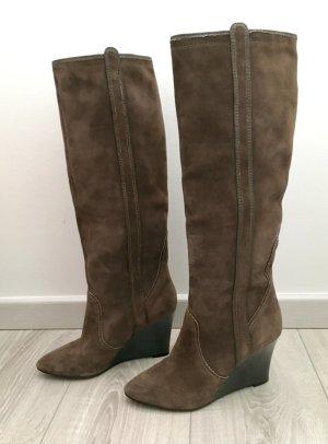 Kenzo Wildleder Stiefel Leder Gr 38.5 braun 1 x getragen Designerstiefel