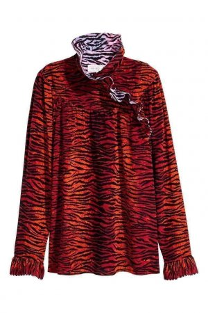 KENZO x H&M Silk Ruffle-collar Red Print Tiger Stripes Blouse in XS