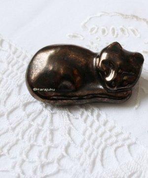 Keramik Katze Brosche