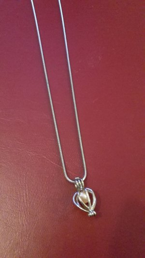 Collier Necklace silver-colored-dusky pink metal