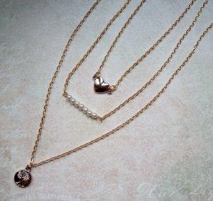 Kette 3-reihig goldfarben Herz Baum Perlen Layer