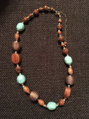 Collana celeste-marrone chiaro Tessuto misto