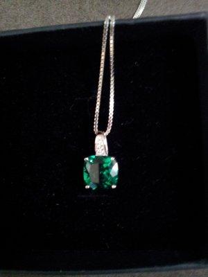 Kette 925 Sterling Silber mit Smaragd