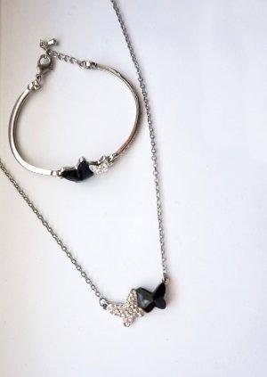 Swarovski Collier noir-argenté