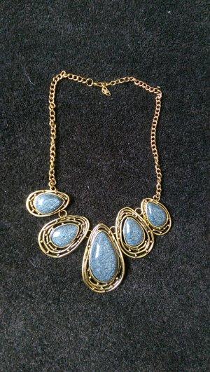 Kette Blogger Statement Anthrazit Blau Bronze Gold Neu