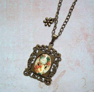 Kette Cabochon Uhr Blume Bronzefarben