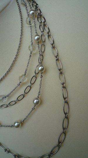 Kette Collier silberfarben 5-reihig m. verschiedenen Kettendesigns
