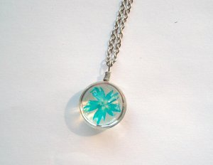 Necklace silver-colored-light blue glas