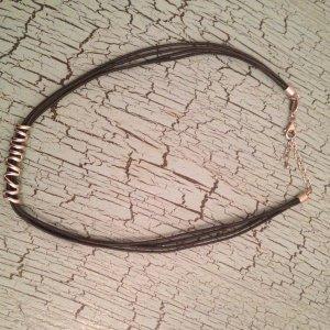 Kette Fossil Silber Lederband