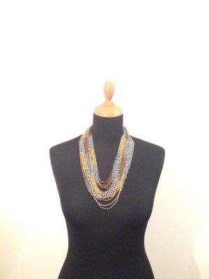 Kette glasperlen transparent oder glänzend Collier Halskette Bronze gold