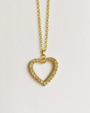 Kette Gold Herz mit Glitzersteinen