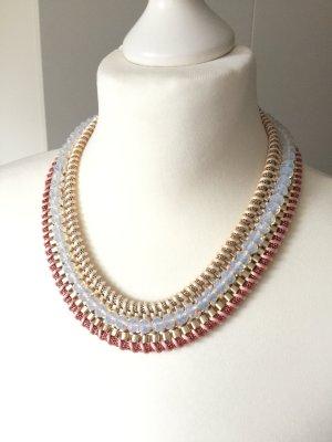Kette Gold rosa weiß Perlen Statementkette Modeschmuck
