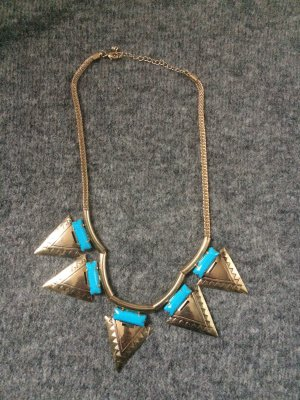 Statement Necklace gold-colored-turquoise