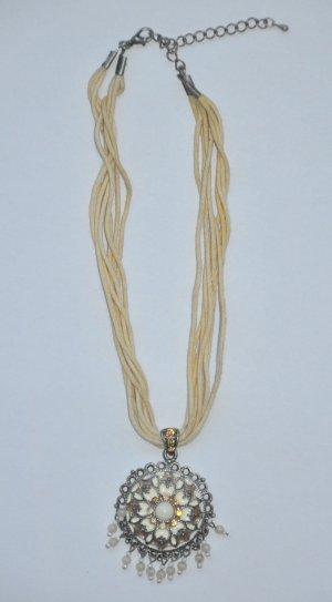 Kette Halskette Ethno-Look mit Perlenbesatz und Glitzer