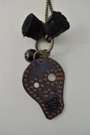 KETTE HALSKETTE Leder Messing Nieten Perlen Schwarz Anhänger Vintage Halskette