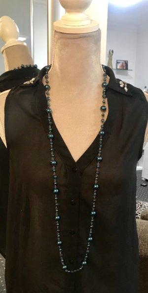 Kette / Halskette / Perlenkette - Türkis / Petrol