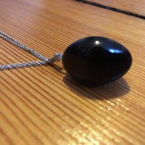 Kette, Halskette, verstellbar, schwarzer Stein, Silberkette