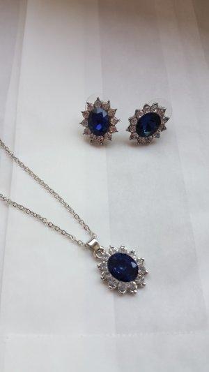 Collar estilo collier color plata-azul