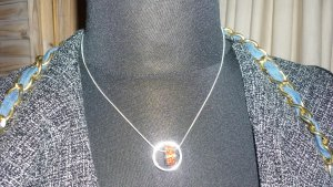 Statement Necklace silver-colored-brick red