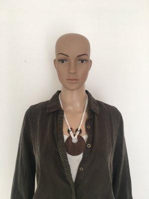 Kette Holz Glasperlen weiß braun beidseitig tragbar Halskette Collier rund Anhänger