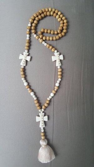 Kette Holz Kreuz Perlen