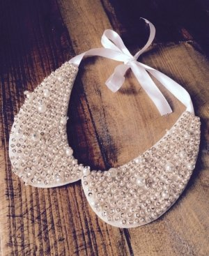 Kette Kragen Perlen Handmade Geschenk Weihnachten neu Schleife satinband