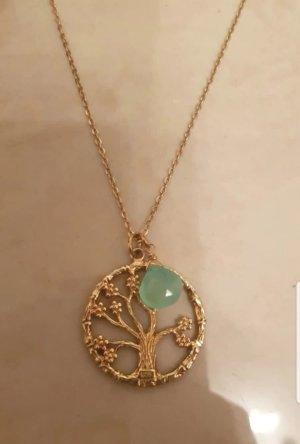 Kette lang Allesausliebe by Milla K. Silber vergoldet Lebensbaum AllesTopas Türkis