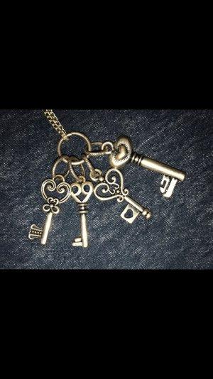 Kette Lang Schlüssel Keys Silber Antik Herz Heart