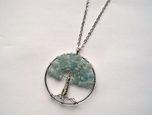 Kette Lebensbaum Silberfarben Aquamarin