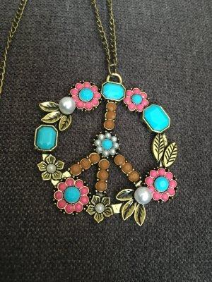 Kette mit Anhänger Peace Perlen Modeschmuck