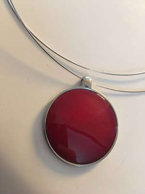 Necklace red-silver-colored