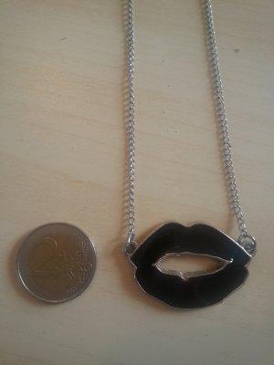 Collier noir-argenté métal