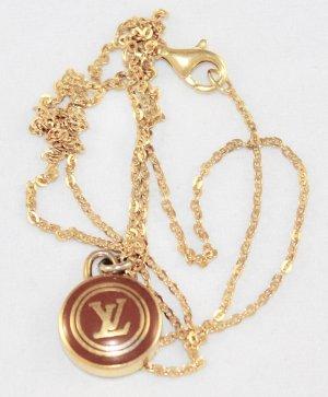 """Kette mit original Louis Vuitton LV Anhänger 50cm Halskette """"LV"""" braun gold"""
