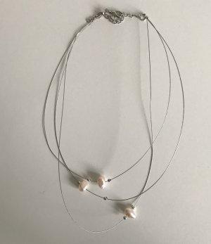 Collier de perles rose clair-argenté