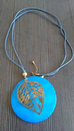 Kette mit wunderschönem Anhänger türkis / blau neuwertig!