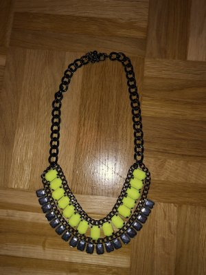 Statement Necklace neon yellow-silver-colored