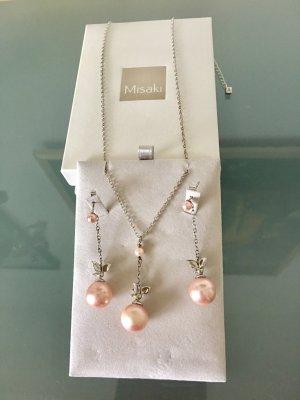 Misaki Collana di perle rosa pallido-argento