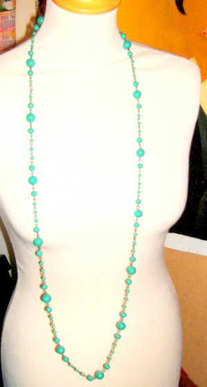 Pearl Necklace turquoise-gold-colored synthetic material