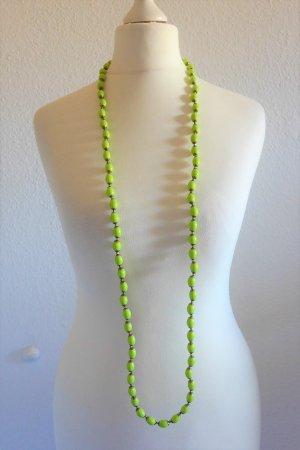 Kette Perlen grün gelb gold Boho Hippie lang Sommer Ibiza