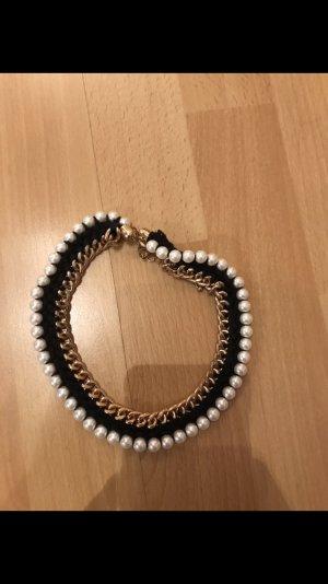 Kette Perlen weiß schwarz Gold