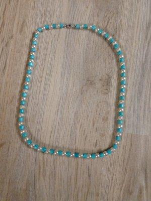 Kette Perlenkette Perlen türkis weiß